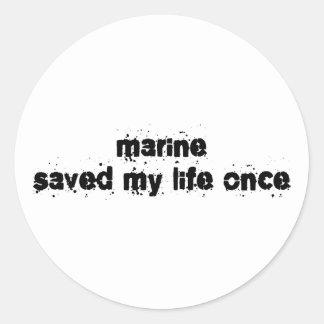 El infante de marina ahorró mi vida una vez pegatina redonda