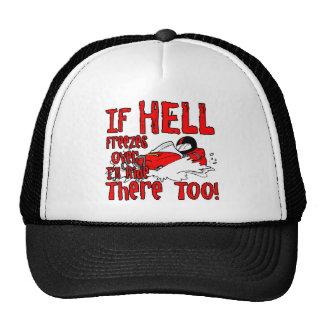 El infierno congela encima gorras de camionero