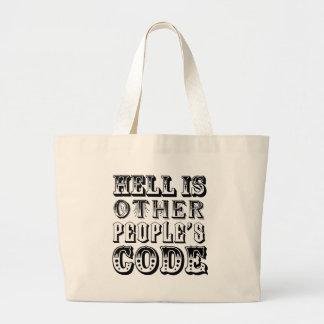 El infierno es el código de la otra gente bolsa tela grande