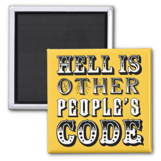 El infierno es el código de la otra gente imán cuadrado