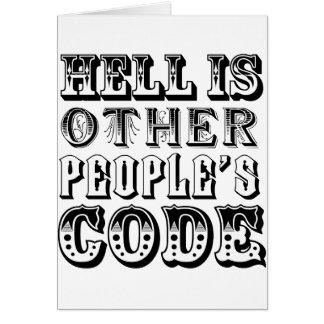 El infierno es el código de la otra gente tarjeta de felicitación