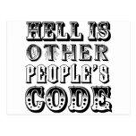 El infierno es el código de la otra gente tarjeta postal