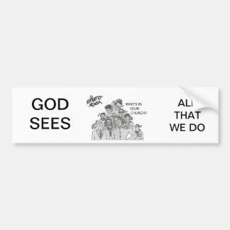 """¿El infinito Mindz """"quién está en su iglesia? """" Etiqueta De Parachoque"""