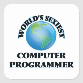 El informático más atractivo del mundo pegatina cuadrada