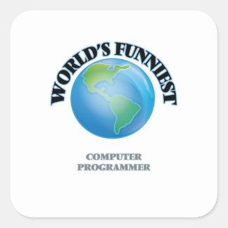 El informático más divertido del mundo pegatina cuadrada