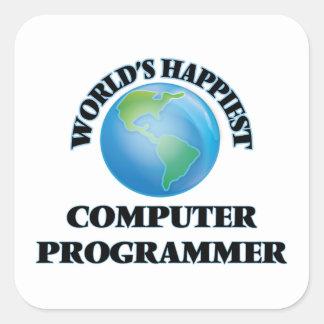 El informático más feliz del mundo pegatina cuadrada