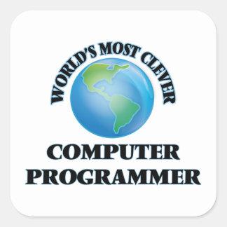 El informático más listo del mundo pegatina cuadrada