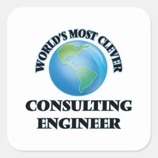 El ingeniero asesor más listo del mundo calcomanía cuadradas personalizadas