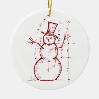 El ingeniero del navidad adorno navideño redondo de cerámica