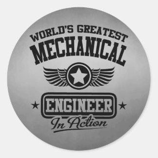 El ingeniero industrial más grande del mundo en la pegatina redonda