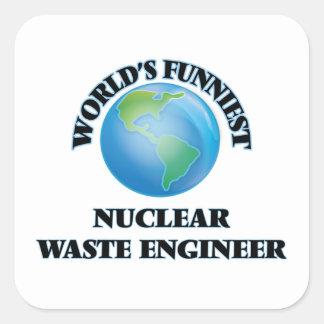 El ingeniero más divertido de la basura nuclear pegatina cuadrada