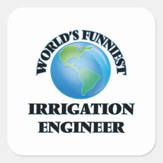 El ingeniero más divertido de la irrigación del pegatina cuadrada