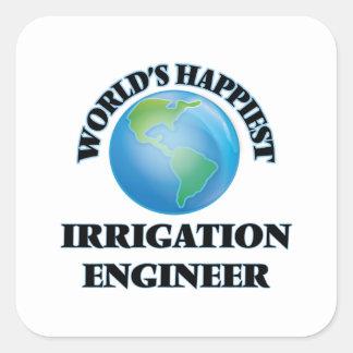 El ingeniero más feliz de la irrigación del mundo pegatina cuadrada