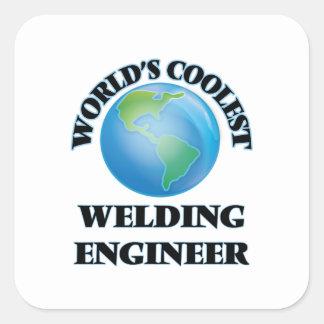 El ingeniero más fresco de la soldadura del mundo pegatinas cuadradas
