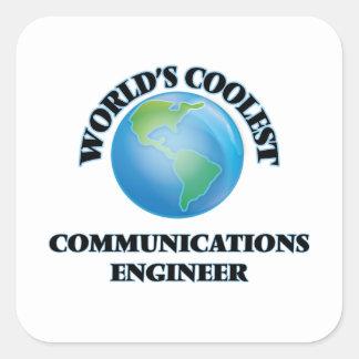 El ingeniero más fresco de las comunicaciones del calcomania cuadradas