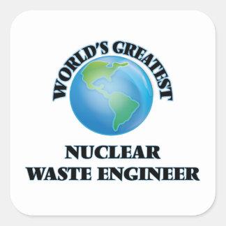 El ingeniero más grande de la basura nuclear del pegatina cuadrada