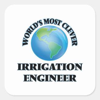 El ingeniero más listo de la irrigación del mundo pegatina cuadrada