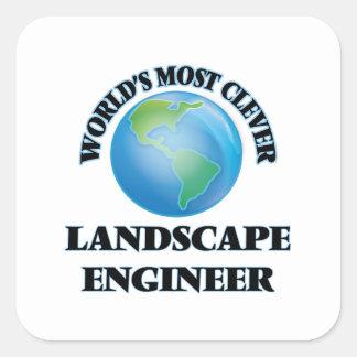 El ingeniero más listo del paisaje del mundo calcomanías cuadradass