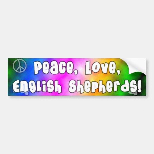 El inglés del amor de la paz Shepherds a la pegati Etiqueta De Parachoque