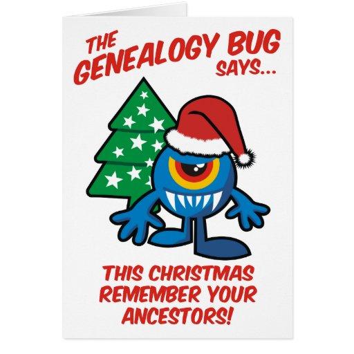 El insecto de la genealogía dice… tarjeta de felicitación