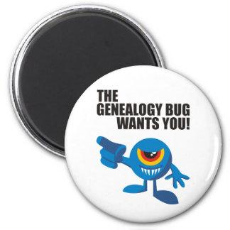 ¡El insecto de la genealogía le quiere! Imán Redondo 5 Cm