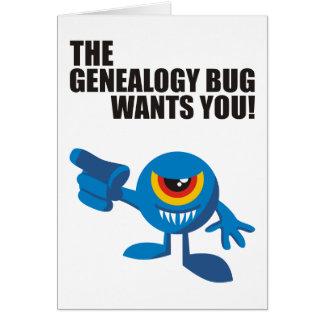 ¡El insecto de la genealogía le quiere! Tarjeta De Felicitación