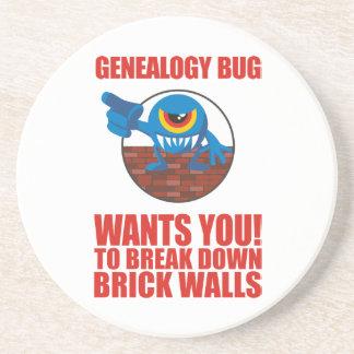 El insecto de la genealogía rompe las paredes posavasos para bebidas