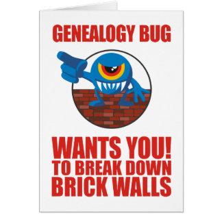 El insecto de la genealogía rompe las paredes felicitacion
