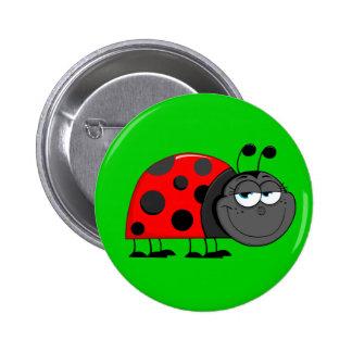 El insecto divertido observa el botón pin redondo de 2 pulgadas