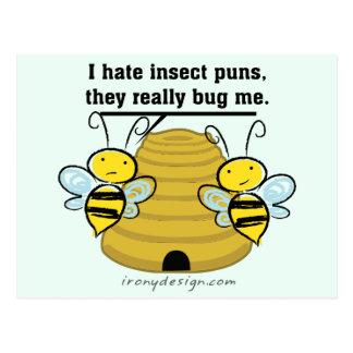 El insecto hace juegos de palabras me fastidia tarjetas postales