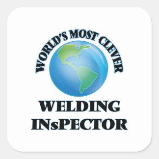 El inspector más listo de la soldadura del mundo pegatina cuadrada