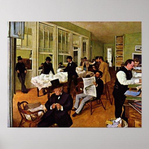 El intercambio del algodón de Edgar Degas Póster