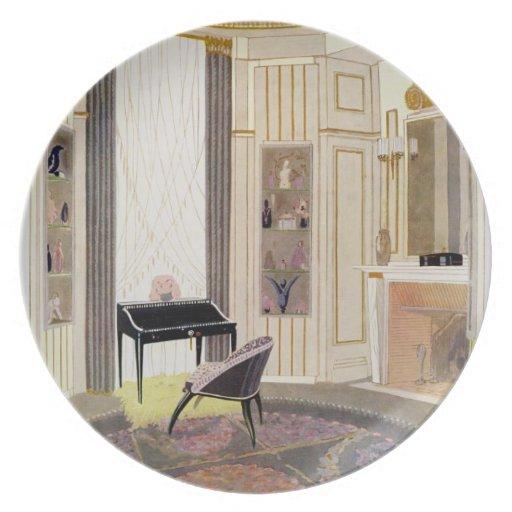 El interior con muebles diseñó por Ruhlmann, de Plato De Comida