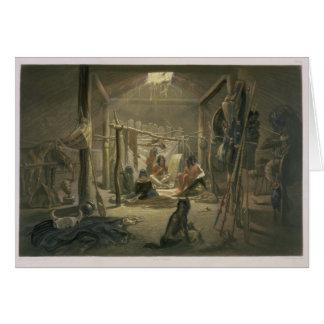 El interior de la choza de un jefe de Mandan, plac Tarjeta