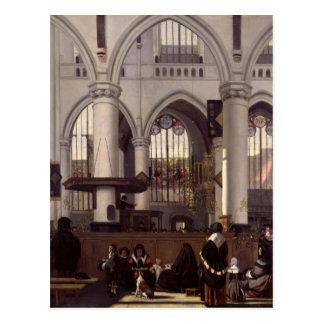 El interior de Oude Kerk, Amsterdam, c.1660 Postal