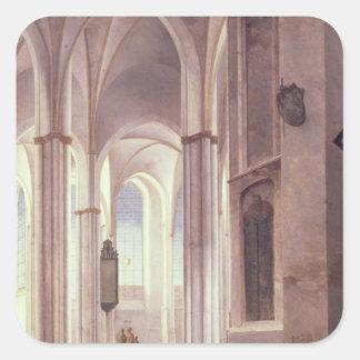 El interior del Buurkerk en Utrecht 1644 Pegatina Cuadradas