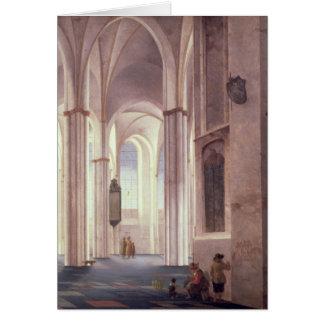 El interior del Buurkerk en Utrecht 1644 Tarjetón