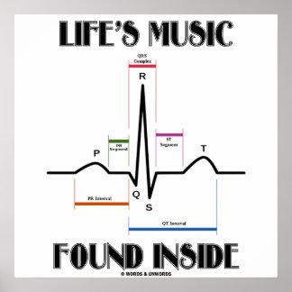 El interior encontrado música de la vida (latido d posters