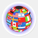 el international señala la tierra del globo por pegatinas redondas