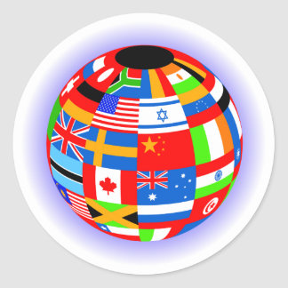 el international señala la tierra del globo por pegatina redonda