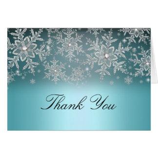 El invierno azul del copo de nieve cristalino le tarjeta pequeña