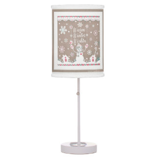 El invierno caliente desea la lámpara de mesa del
