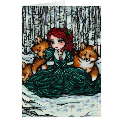El invierno caprichoso Foxes la tarjeta del arte d