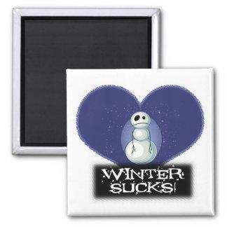 el invierno chupa el muñeco de nieve del emo imán cuadrado