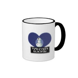 el invierno chupa el muñeco de nieve del emo taza de café