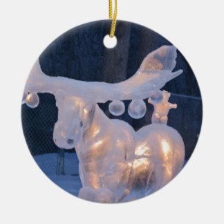 El invierno congelado nieve de la escultura de adorno redondo de cerámica