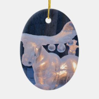 El invierno congelado nieve de la escultura de adorno ovalado de cerámica