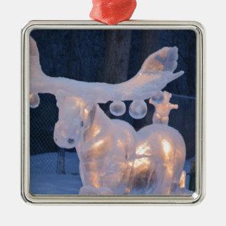El invierno congelado nieve de la escultura de adorno cuadrado plateado