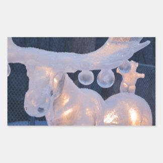 El invierno congelado nieve de la escultura de pegatina rectangular