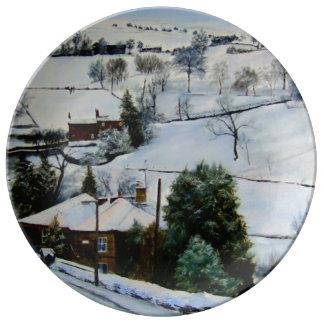 El invierno en amarra plato de cerámica